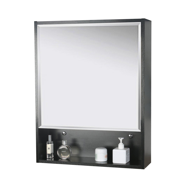 "eclife 22"" x 28'' Large Storage Bathroom Medicine Cabinet Origin Mirror Storage Wood Adjustable Wall Mounted Mirror Cabinet Black C01"