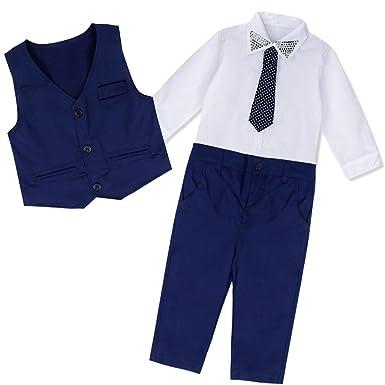 Freebily Conjunto de Fiesta Boda Bautizo para Niño (2-7 Años) Camisa + Pantalones + Chaleco + Corbata Traje de Ceremonia Chico Niño