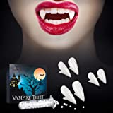 SOOFUN Vampire Fangs Teeth With Adhesive for Halloween - 3 Pack 3 Sizes (13/15/17mm) Realistic Vampire Fang Teeth for…