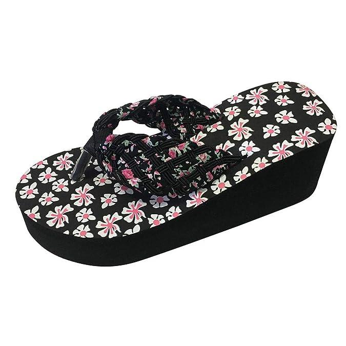 0fc6175a8e4 Voberry Women Ladies Girls Wedges Floral Flip Flops Sandals Slippers Beach  Shoes Black