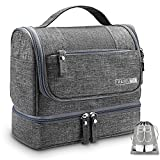 Travel Hanging Toiletry Bag Toiletries Kit Organizer, DaoQ Large Cosmetics Bag for Men and Women, Unique Waterproof Pocket for Wet Items, with Free Shoe Bag, Home, Gym, Hotel, Airplane, Car Use (Gray)