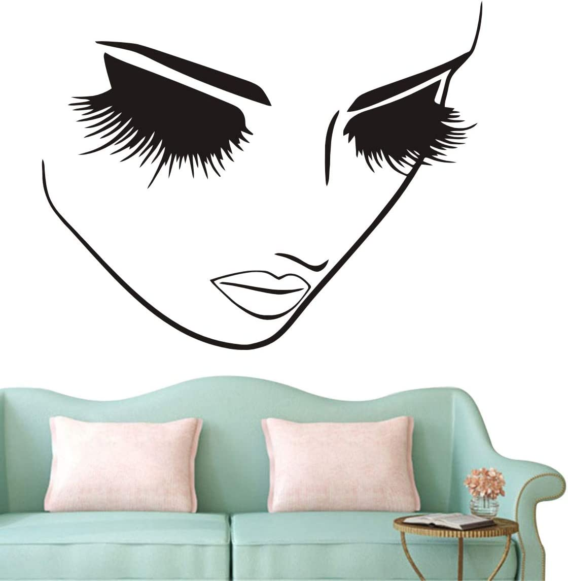 Fashion Removable Beauty Lashes Eyes Wall Decal Women Face Spa Salon Decor Sticker Home Decor Bedroom Art Vinyl Wall Sticker A-94 (Black)