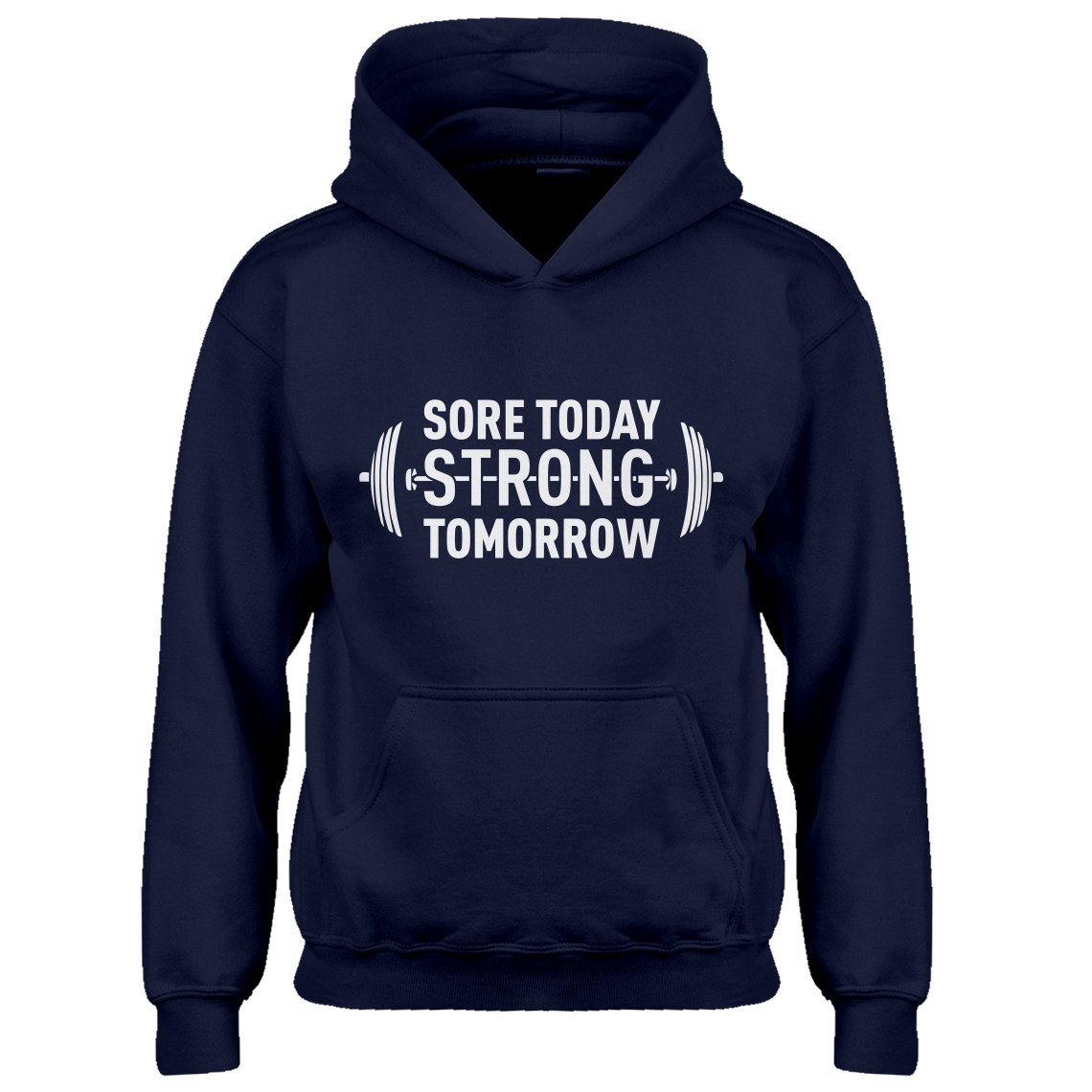 Indica Plateau Kids Hoodie Sore Today Strong Tomorrow Small Navy Blue Hoodie by Indica Plateau