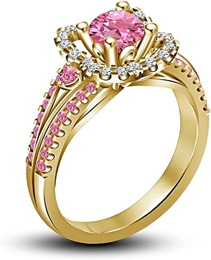 Womens Round Cut Pink Sapphire /& White CZ Diamond 14K Yellow Gold Plated Solitaire Aurora Princess Ring 925 Sterling Silver
