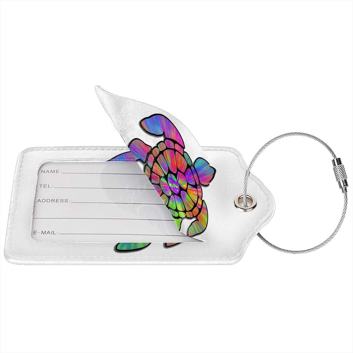 Tie Dye Cool Sea Turtle Leather Luggage Tag Travel ID Label For Baggage Suitcase