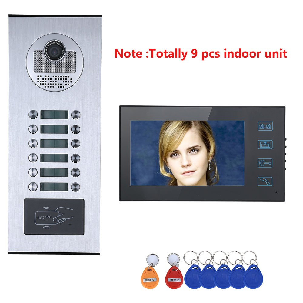 XC 7-inch apartment family videophone intercom system, waterproof touch button doorbell camera, RFID IR-CUT HD 1000TVL camera with 12 buttons   9 monitors
