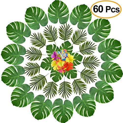 KUUQA 60 Pcs Tropical Leaves Luau Party Decorations Artificial Tropical Palm Monstera Leaves and Hibiscus Flowers for Hawaiian Aloha Jungle Safari Theme Birthday Party Decoration Supplies by KUUQA