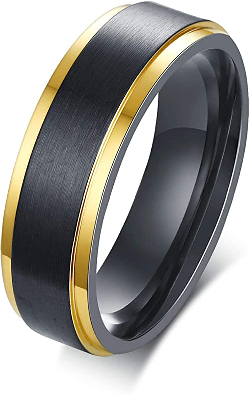 Aooaz Stainless Steel Wedding Bands Brushed Finished Shaped Ring for Women Men Black//Gold US Size 8