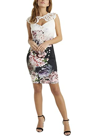 ee12f094411b Lipsy Womens Freda Print Lace Sleeve Bodycon Dress - White - 18:  Amazon.co.uk: Clothing