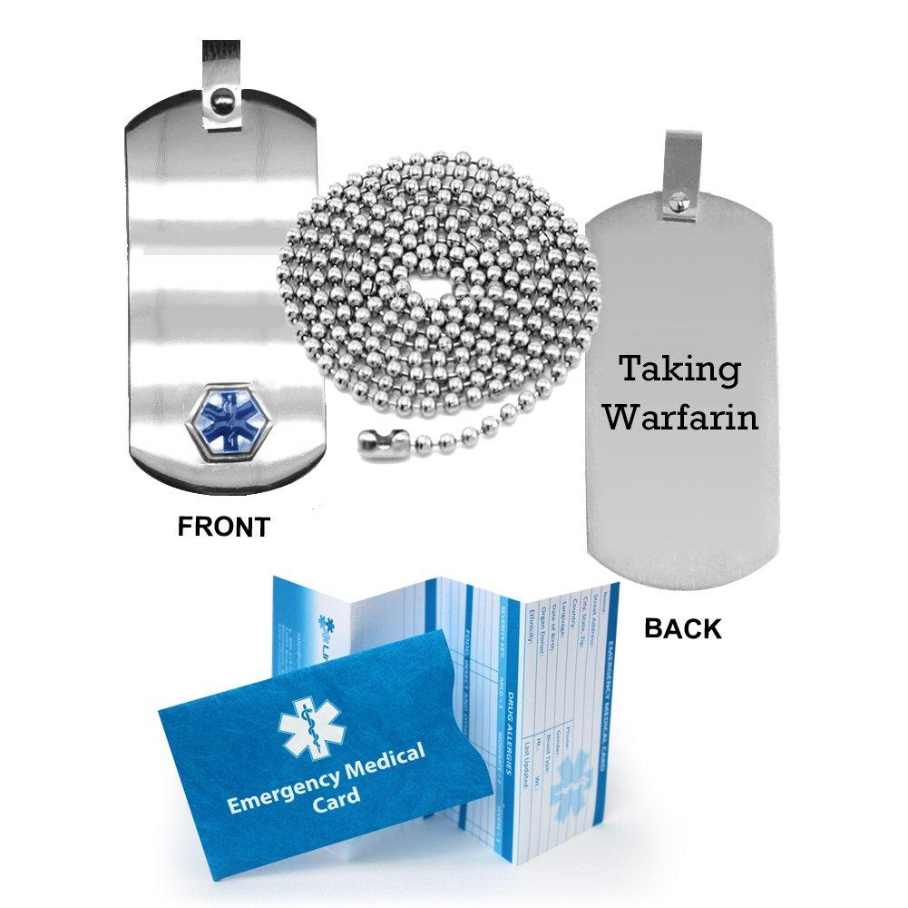 Taking Warfarin Medical Alert ID Dog Tag Pendant in Anodized Titanium