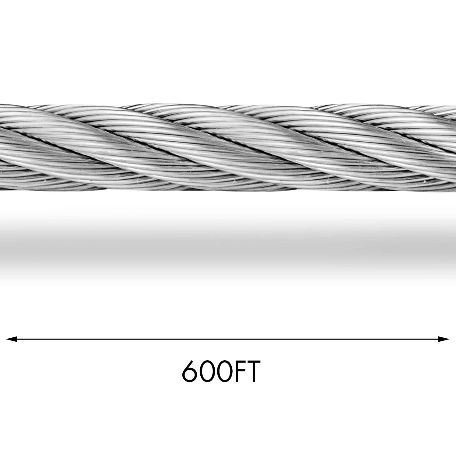 Mophorn 304 Stainless Steel Cable 5//16 Inch 7 X 19 Steel Wire Rope 200Feet Steel Cable for Railing Decking DIY Balustrade