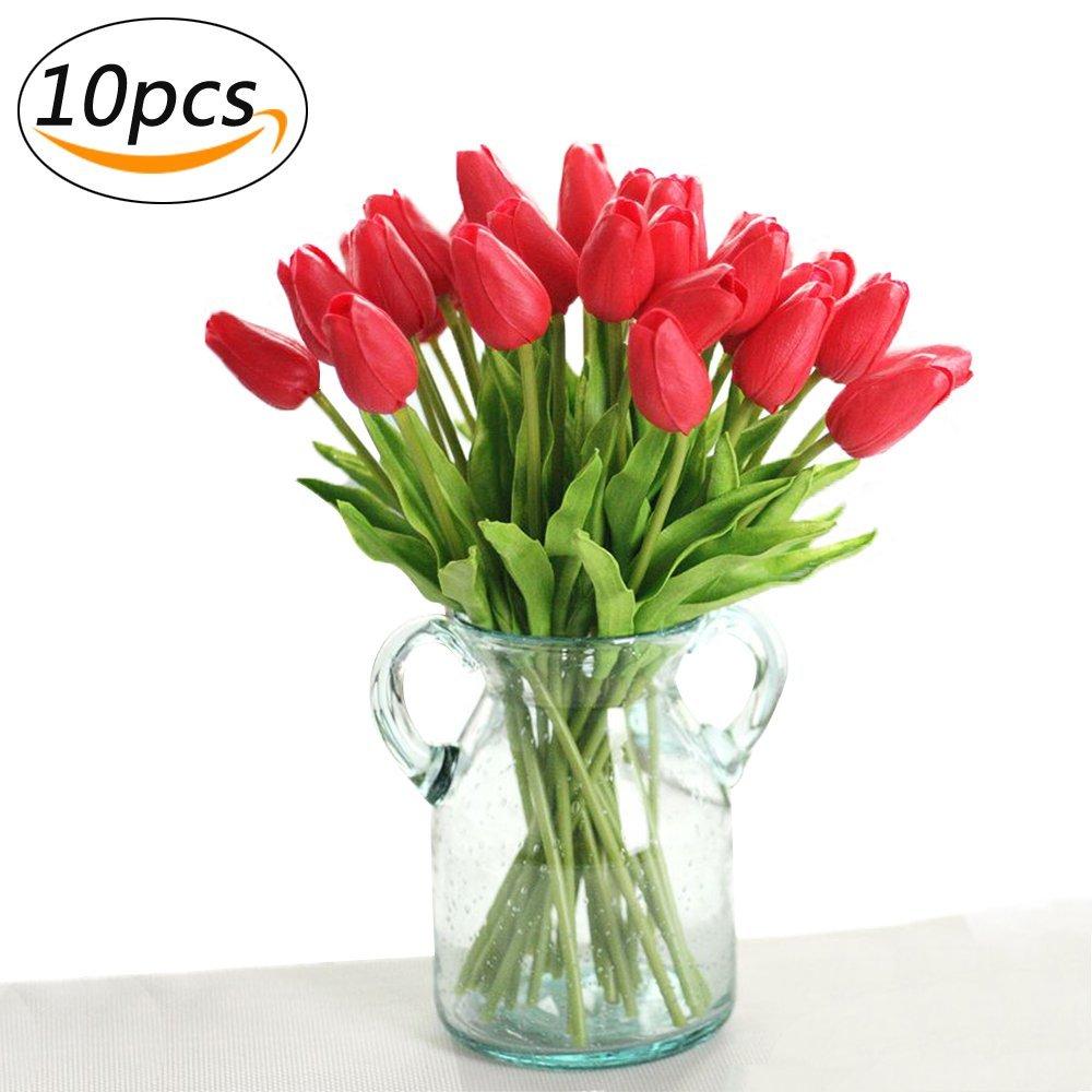 PU Stunning Artificial Tulips Silk Flowers Arrangement Bouquet Home Room Office Wedding Party Decor (Deep Pink) Suces