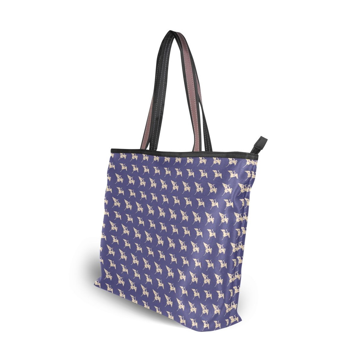 LEEZONE Microfiber Shoulder Handbags with Crane Pattern Tote Bags