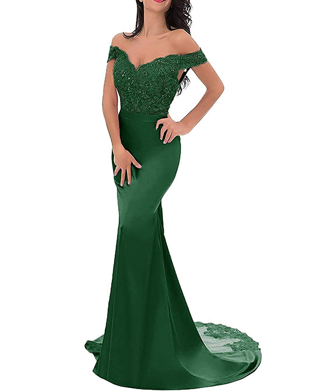 Dark Green PearlBridal VNeck Off Shoulder Mermaid Bridesmaid Dresses Lace Long Evening Formal Gown