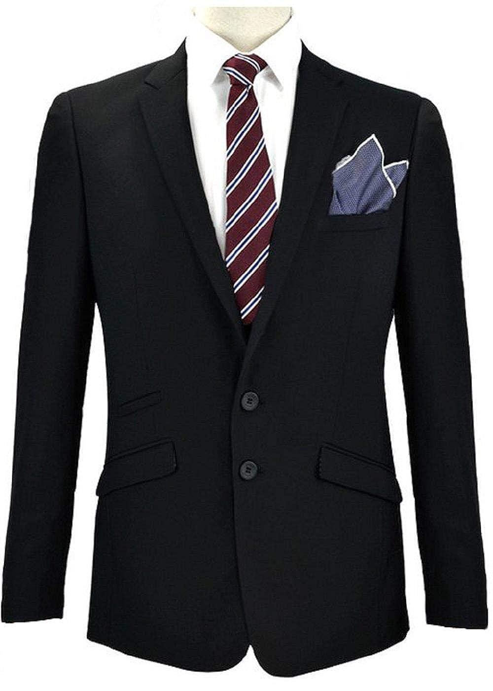 Voeut Mens Formal Plain Black Regular Fit Suit