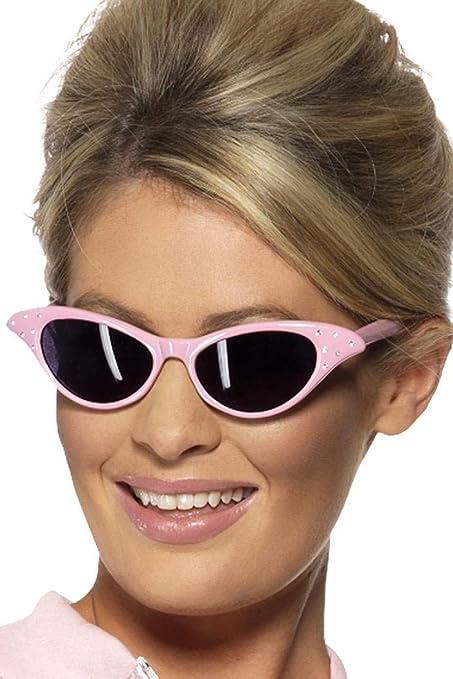 Smiffys-99022 Años 50 Gafas de Sol Rock and Roll Estilo Flyaway, con Strass, Color Rosado, No es Applicable (99022)