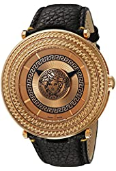 Versace Men's VQL020015 V-Metal Icon Analog Display Swiss Quartz Black Watch