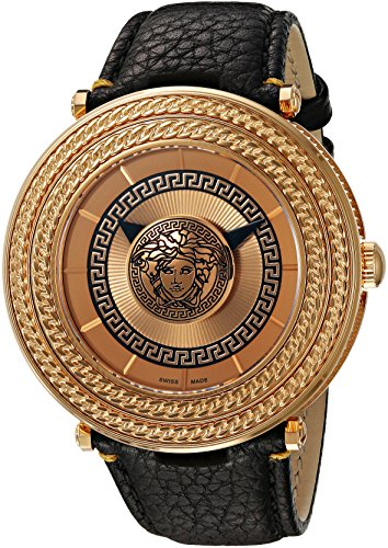 Versace Men's VQL020015 V-Metal Icon Analog Display Swiss Quartz Black Watch