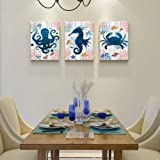 Black and white Sea Horse Octopus Crab 3 Piece