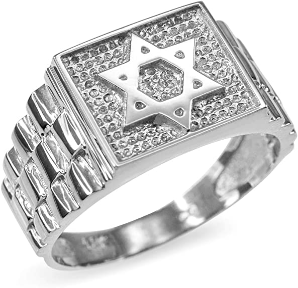 Available Sizes 4-13.5 Elegantly Gift Packaged Baltinester Jewelry Blue Sapphire Jewish Ring for Men Unique Sterling Silver Star of David Ring