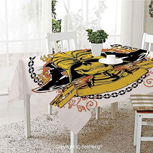 BeeMeng Large dustproof Waterproof Tablecloth,Skeleton Warrior with Axes on Helmet in Fire and Chain Medieval Asian Mythology,Yellow Black70 x 104 inches - Hawaii Warriors Mini