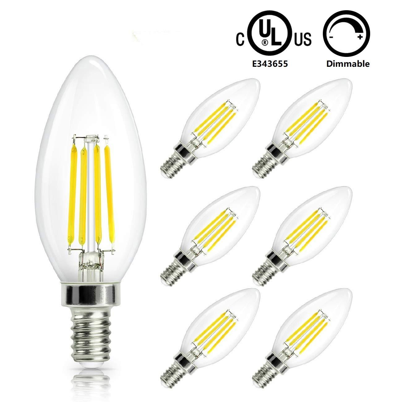 Candelabra Light Bulbs Dimmable 60W Equivalent, E12 Base C35 LED Filament Bulbs, Warm White 2700K Chandelier B11 Bulbs,CRI90 110V-130V Vintage Ceiling Fan Deco Bulb, 6-Pack, EMANER