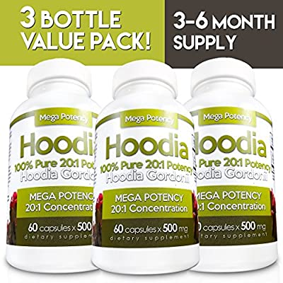 Hoodia Gordonii 3-BOTTLE PACK - Appetite Suppressant 20:1 Potency is 20X Stronger Than Raw Hoodia. Stimulant Free Unlike Most Diet Pills & Weight Loss Products. Reduce Hunger & Lose Weight