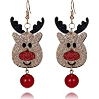 Hosaire Noël Boucles d'oreilles Femmes Romantique Bijoux Forme de Renne Mignon Boucles d'oreilles de Pendentif Bijoux Cadeau pour Noël