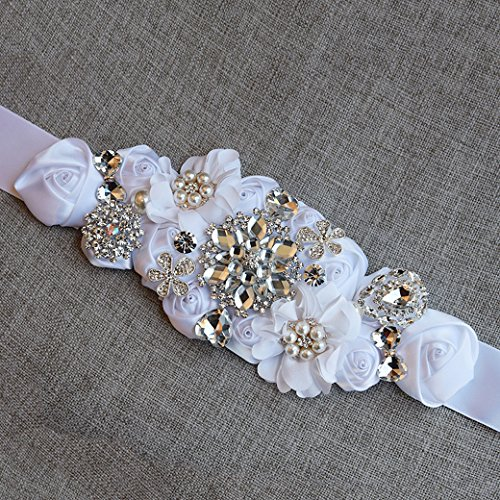 Lujuny Crystal Flower Bridal Maternity Sash Belt – Floral Ribbon Tie for Wedding Pregnant Baby Shower Party Photoshoot (WHITE) by Lujuny (Image #3)