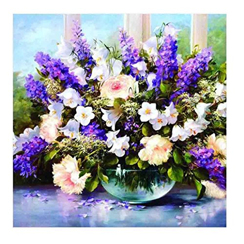 Lavany 5D Diamond Painting By Number Kits Flower Vase Crystal Rhinestone Diamond Embroidery Paintings Pictures Arts Craft for Wall Decor,Stamped Cross Stitch Kits (C)