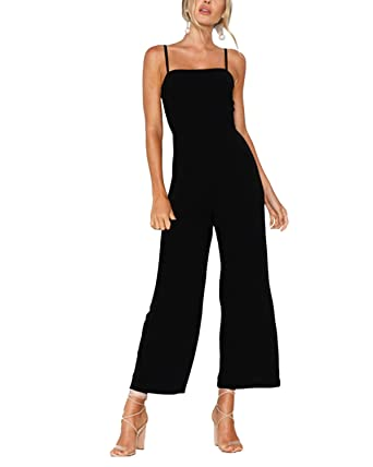 87c16b4ce82 YOINS Jumpsuits for Women Zip Back Square Neck Sleeveless Spaghetti Strap  High Waist Wide Leg Jumpsuit Pants Rompers  Amazon.co.uk  Clothing