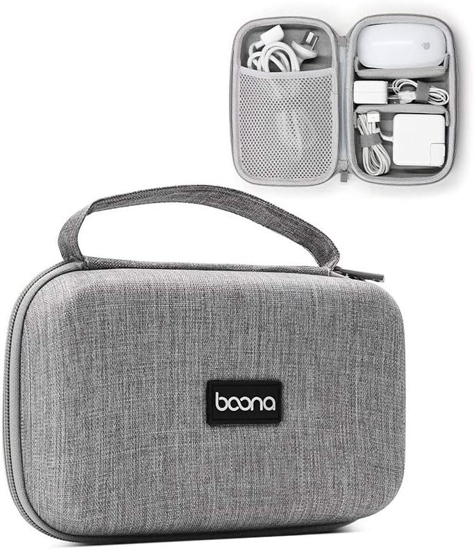 Buwico Hard Carrying Case Travel Case Storage Bag Holder Organizer for MacBook Air/MacBook Pro Laptop Charger Power Adapter Mouse Cables Earphone (Gray)