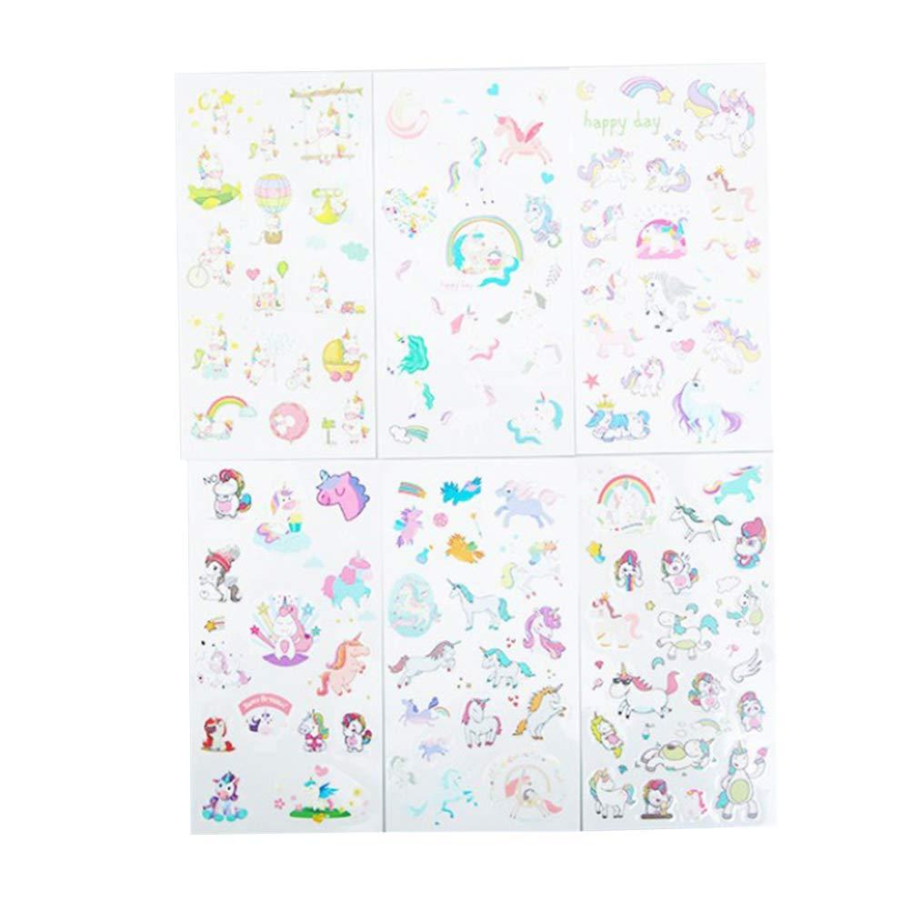 YeahiBaby 30 Hojas de Pegatinas para Niños Unicornio Juguete Divertido Juguete Proyecto Craft para Fiesta de Cumpleaños Unicornio Favorece Suministros Decoración (Patrón Mixto)