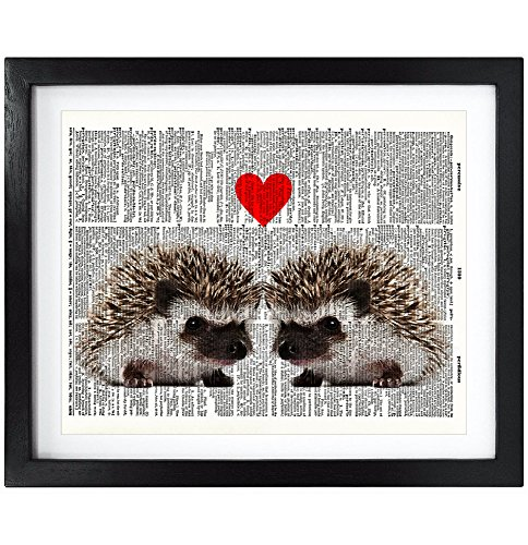 8X10 Unframed Hedgehog Love Upcycled Vintage Dictionary Art Print Book Art Print Home Decor Wall Art V035 - Hedgehog Print