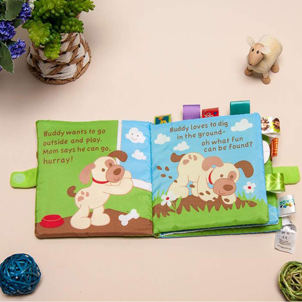 Libro del beb/é Los libros de pa/ño suave no t/óxico Tela educaci/ón temprana juguetes de actividad de la arruga de tela para el ni/ño Los beb/és y ni/ños perro 1pc
