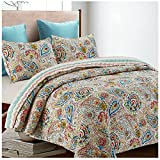 navy and green quilt - Anushka Reversible Quilt Set, Bright Floral Paisley Pattern, 3-Piece Set with Quilt and Pillow Shams - Full/Queen, Anushka