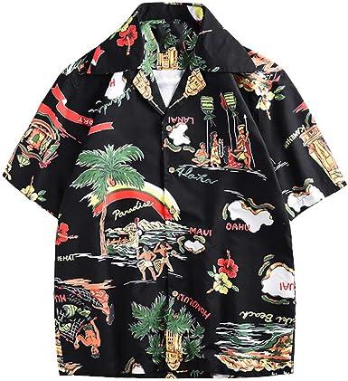 TOPKEAL Moda Camisa Pareja con Hawaii Impreso Personalizado Tapas de Playa de Manga Corta Verano: Amazon.es: Ropa y accesorios