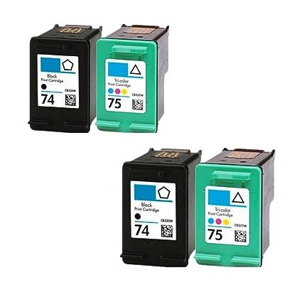 caidi 4PK HP 74 HP 75 Comp cartucho de tinta compatibles para HP ...