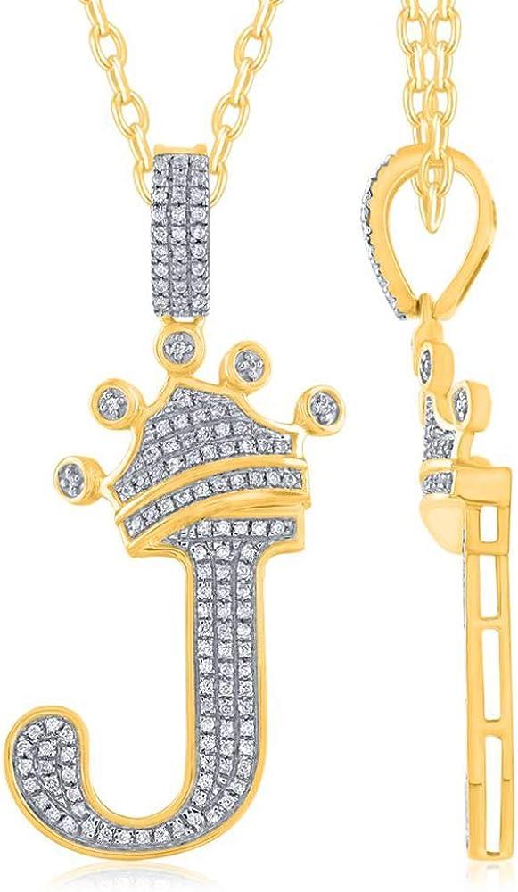 TGDJ - Colgante de oro amarillo de 10 K con corona de diamante, letras pequeñas de la A a la Z, joyería fina con sello de oro para hombres y mujeres para todas las ocasiones, 1,5 pulgadas