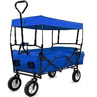 Bollerwagen mit Dach | Faltbar | bis 100 kg | Rot Blau | Leichter Aufbau | Handwagen Transportkarre Gerätewagen