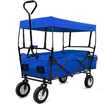 Deuba Bollerwagen Faltbar mit Dach Handwagen Transportkarre Gerätewagen | inkl. 2 Netztaschen und Einer Außentasche | blau