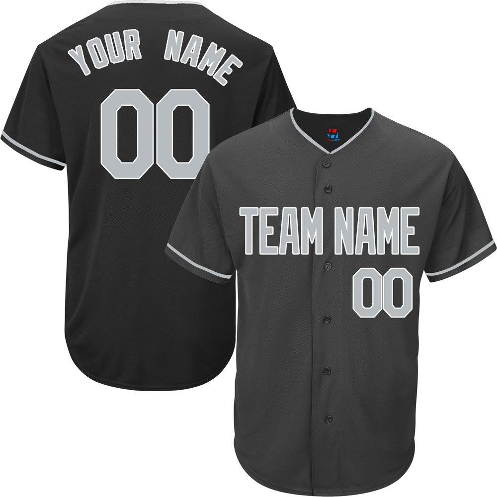 Black Custom Baseball Jersey for Men Full Button Mesh Embroidery Name & Numbers,Gray-White Size L by Pullonsy