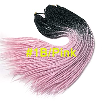 1b Pink Color Two Tone Supper Durable Braids Cute Synthetic Hair Two Tone Ombre Color 3packs 24inches Senegalese Twist Crochet Hair 20roots Pcs