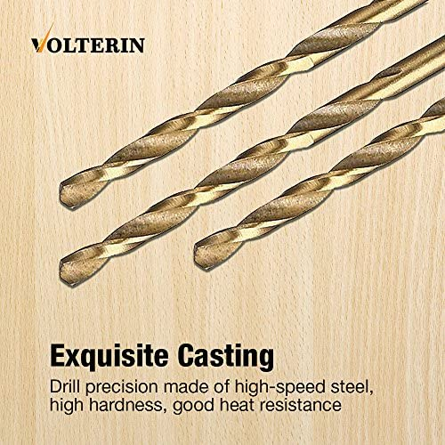Stainless Steel with Box Aluminum Alloy Steel 50PC Copper Plastic Wood 50PC Titanium Twist Drill Bit Set by Volterin- HSS Metric Drill Bits for Metal
