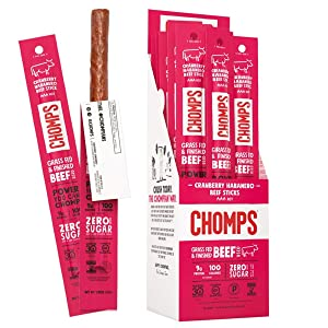 CHOMPS Grass Fed Cranberry Habanero Beef Jerky Snack Sticks, Keto & Paleo, Whole30, Non-GMO, Gluten Free, Nitrate Free, 100 Calorie Snacks, 1.15 Oz Meat Stick, Pack of 24