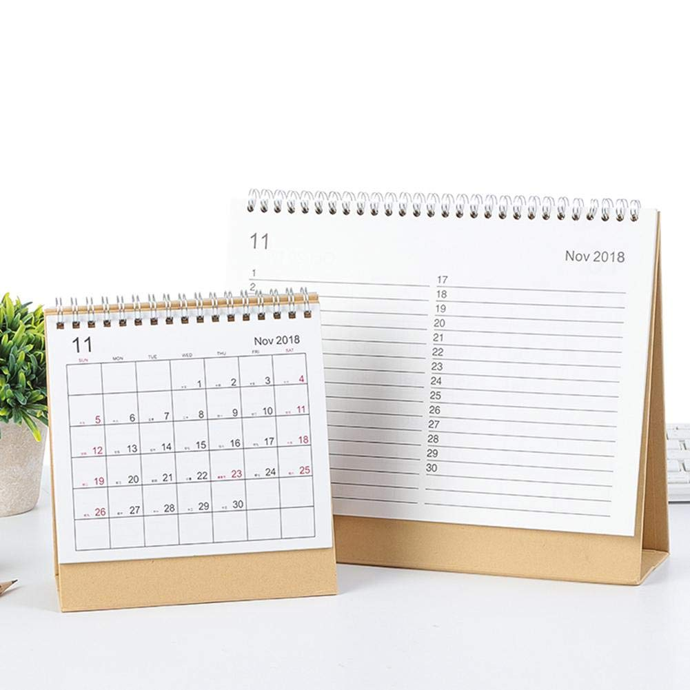 Futurepast 2018-2019 Desk Calendar Desk-Top Flip Calendar Stand Up Office Table Planner