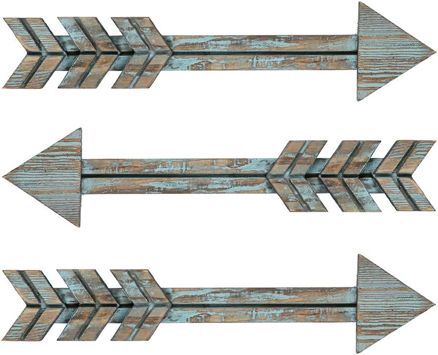 YXMYH Wood Arrows Decor, Blue Wood Arrow Sign Wall Decor - Decorative Farmhouse Home Wall Hanging Decor, 3 Pack