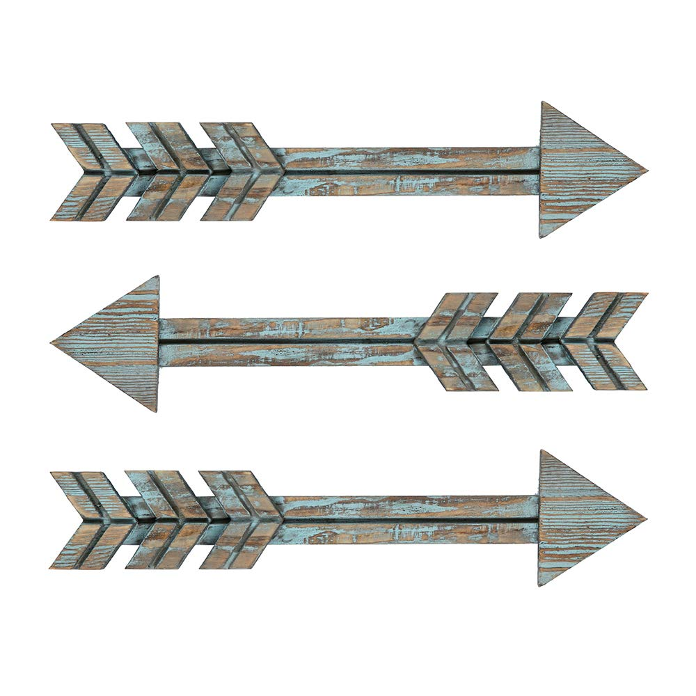 YXMYH Wood Arrows Decor, Blue Wood Arrow Sign Wall Decor - Decorative Farmhouse Home Wall Hanging Decor, 3 Pack