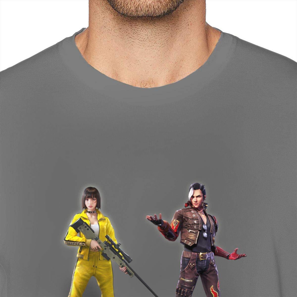 PBQX Free Fire Battlegrounds Mens Casual Short Sleeve Funny Graphic Tee Shirts Black
