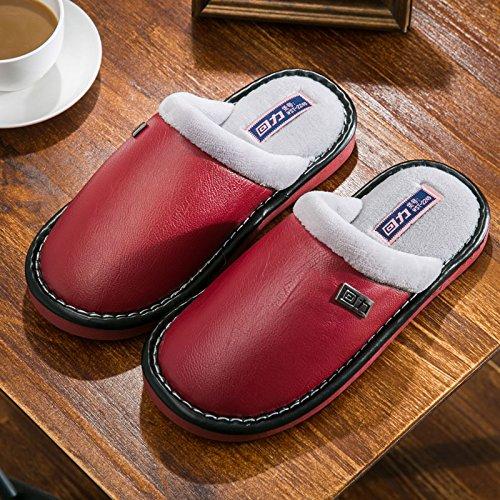 Home habuji cotone pantofole uomini inverno non-slip caldo pantofole home scarpe impermeabili a pavimento femmina, 36-37, vino rosso